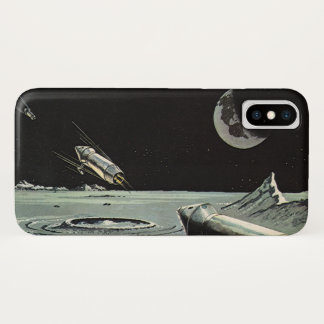 Vintage Science Fiction, Rocket Ships Moon Planets iPhone X Case