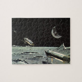 Vintage Science Fiction, Rocket Ships Moon Planets Jigsaw Puzzle