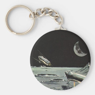 Vintage Science Fiction, Rocket Ships Moon Planets Keychain