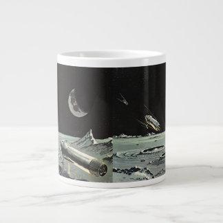 Vintage Science Fiction, Rocket Ships Moon Planets Large Coffee Mug