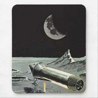 Vintage Science Fiction, Rocket Ships Moon Planets Mouse Pad