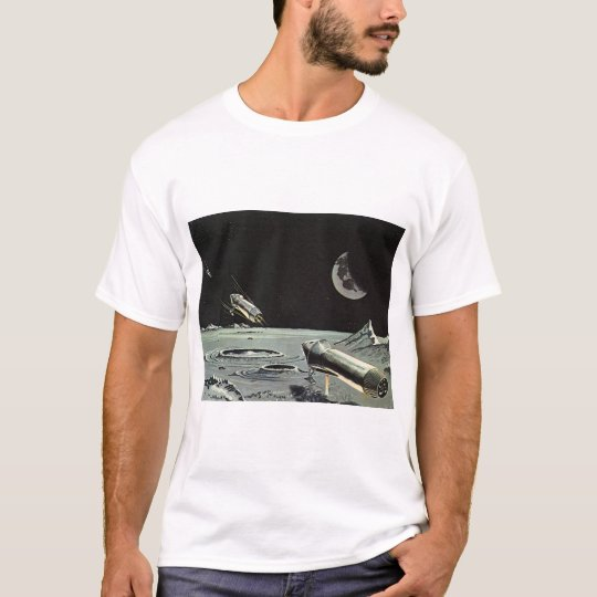 Vintage Science Fiction, Rocket Ships Moon Planets T-Shirt
