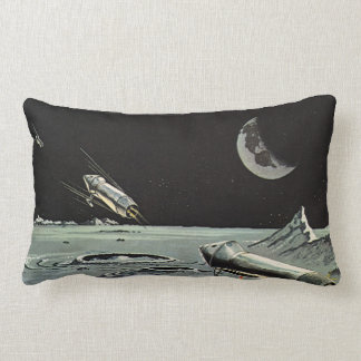Vintage Science Fiction Rocket Ships Moon Space Pillows