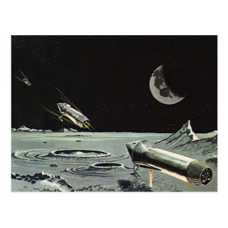 Vintage Science Fiction Rocket Ships Moon Space Post Cards
