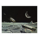 Vintage Science Fiction Rocket Ships Moon Space Print