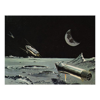 Vintage Science Fiction Rocket Ships Moon Space Poster