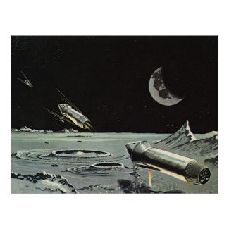 Vintage Science Fiction Rocket Ships Moon Space Print