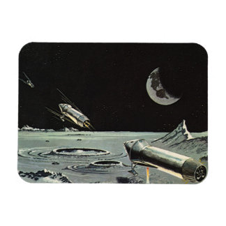 Vintage Science Fiction Rocket Ships Moon Space Rectangular Photo Magnet