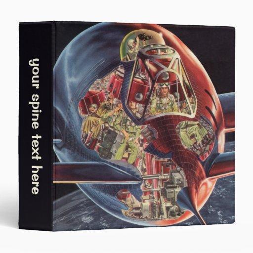 Vintage Science Fiction Rocket Spaceship Astronaut Vinyl Binders