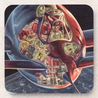 Vintage Science Fiction Rocket Spaceship Astronaut Beverage Coaster