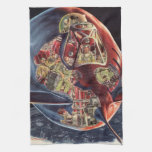 Vintage Science Fiction Rocket Spaceship Astronaut Hand Towel
