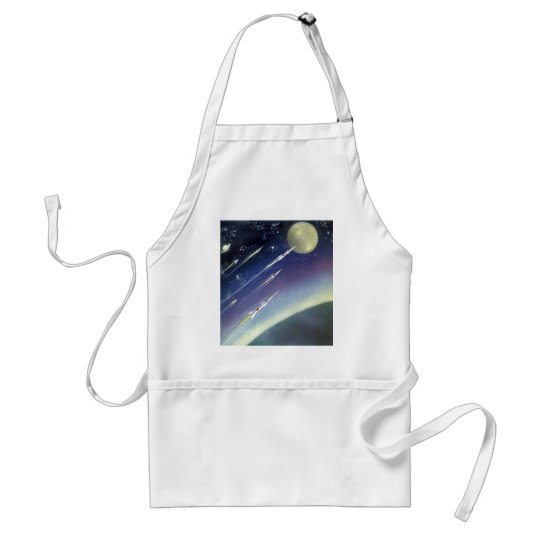 Vintage Science Fiction Rockets in Space by Planet Adult Apron