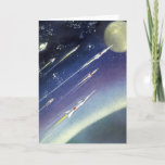 Vintage Science Fiction Rockets in Space by Planet Card