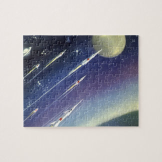 Vintage Science Fiction Rockets in Space by Planet Jigsaw Puzzle