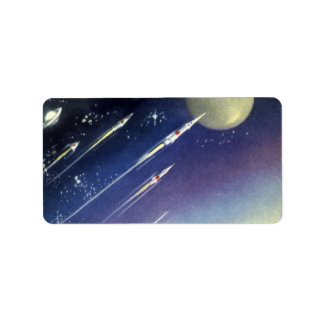 Vintage Science Fiction Rockets in Space by Planet Label
