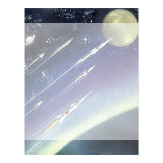 Vintage Science Fiction Rockets in Space by Planet Letterhead
