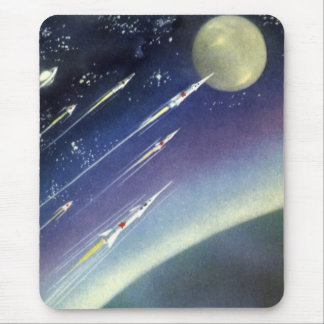 Vintage Science Fiction Rockets in Space by Planet Mouse Pad