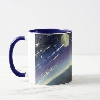 Vintage Science Fiction Rockets in Space by Planet Mug
