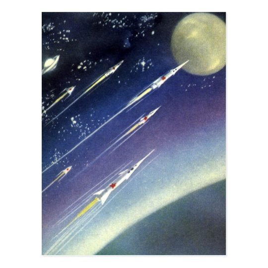Vintage Science Fiction Rockets in Space by Planet Postcard