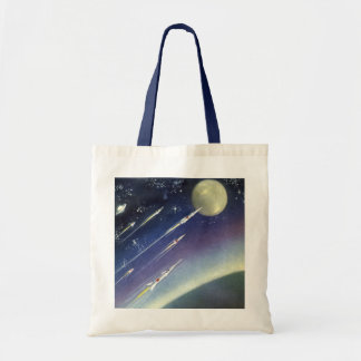Vintage Science Fiction Rockets in Space by Planet Tote Bag