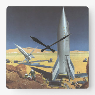 Vintage Science Fiction Rockets on Desert Planet Clock