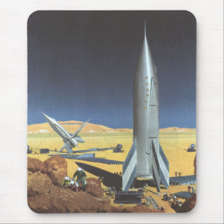 Vintage Science Fiction Rockets on Desert Planet Mouse Pads