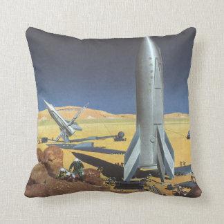 Vintage Science Fiction Rockets on Desert Planet Pillows