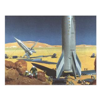 Vintage Science Fiction Rockets on Desert Planet Postcard