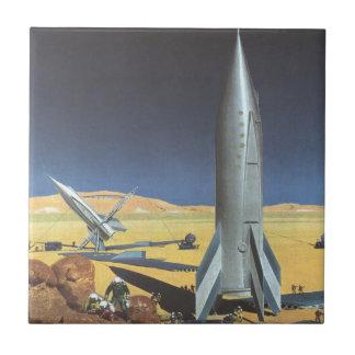Vintage Science Fiction Rockets on Desert Planet Small Square Tile