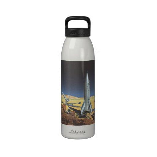 Vintage Science Fiction Rockets on Desert Planet Water Bottles