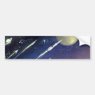 Vintage Science Fiction Rockets Outer Space Moon Car Bumper Sticker