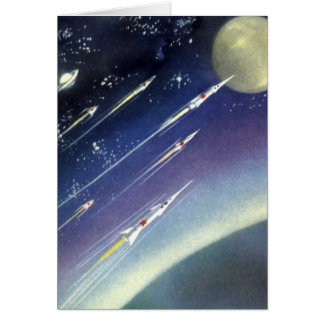 Vintage Science Fiction Rockets Outer Space Moon Greeting Cards