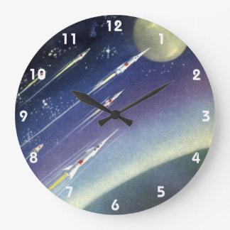 Vintage Science Fiction Rockets Outer Space Moon Clocks