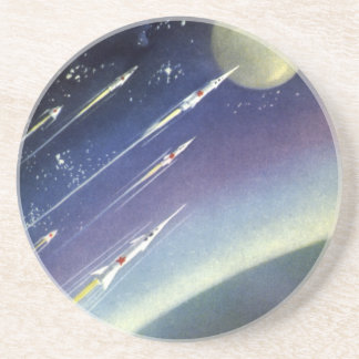 Vintage Science Fiction Rockets Outer Space Moon Drink Coasters