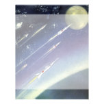 Vintage Science Fiction Rockets Outer Space Moon Letterhead