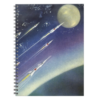 Vintage Science Fiction Rockets Outer Space Moon Spiral Note Book