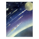 Vintage Science Fiction Rockets Outer Space Moon Postcards