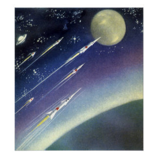 Vintage Science Fiction Rockets Outer Space Moon Poster