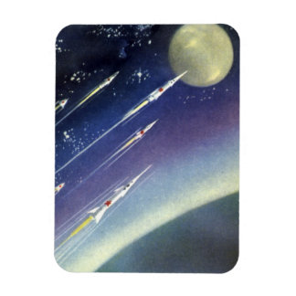 Vintage Science Fiction Rockets Outer Space Moon Rectangular Photo Magnet