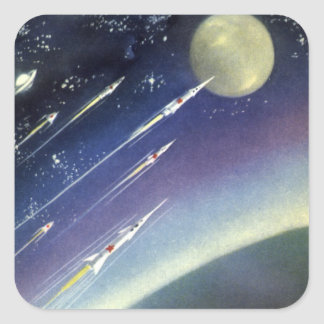 Vintage Science Fiction Rockets Outer Space Moon Square Sticker