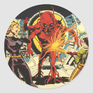 Vintage Science Fiction, Sci Fi Alien Attacking Classic Round Sticker