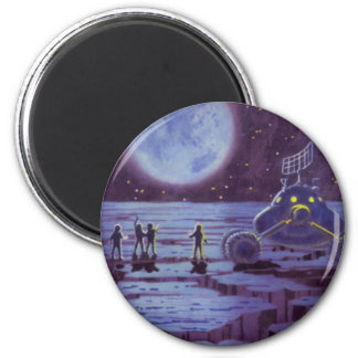 Vintage Science Fiction, Sci Fi Alien Moon Landing Magnet
