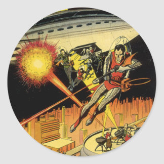 Vintage Science Fiction, Sci Fi Aliens from UFO Classic Round Sticker