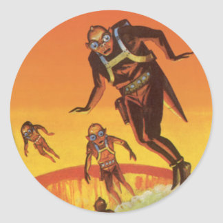 Vintage Science Fiction, Sci Fi Aliens in Volcano Classic Round Sticker