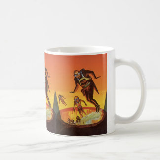 Vintage Science Fiction, Sci Fi Aliens in Volcano Coffee Mug