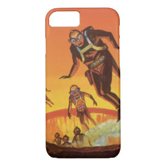Vintage Science Fiction, Sci Fi Aliens in Volcano iPhone 7 Case