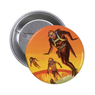 Vintage Science Fiction, Sci Fi Aliens in Volcano Pinback Button