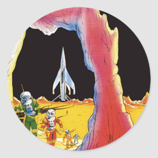 Vintage Science Fiction, Sci Fi Aliens on Planet Classic Round Sticker