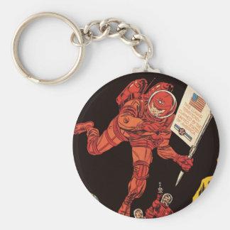 Vintage Science Fiction, Sci Fi, Astronaut on Moon Basic Round Button Keychain