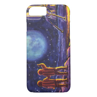Vintage Science Fiction, Sci Fi Astronauts on Moon iPhone 7 Case